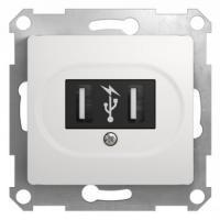 GLOSSA USB РОЗЕТКА, 5В /1400 мА, 2 х 5В /700 мА, механизм, БЕЛЫЙ